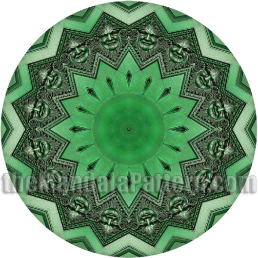 The Green Man Mandala in green